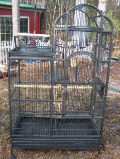 Large Black Vein Iron Birdcage Bird Cage Metal 69x42x26 5 Parrot