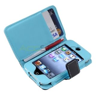 For iPod Touch 4 G 4th Gen Black Blue Dot Leather Wallet Case Diamond