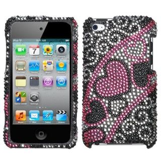 Pink Hearts Bling Rhinestone Case iPod Touch 4th Gen