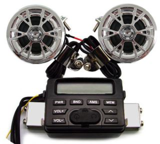 Motorcycle Audio FM Radio  iPod Stereo 2 Speakers for Harley Honda