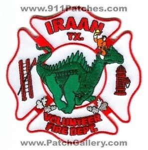 Iraan Volunteer Fire Department Dept FD Rescue Dragon Patch Texas TX