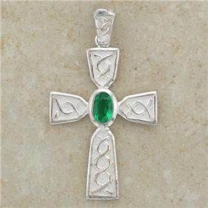 Irish Celtic Cross Pendant   with CZ Emerald Stone   Sterling Silver