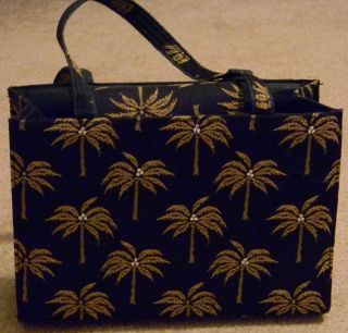 Black Purse with Gold Palm Trees