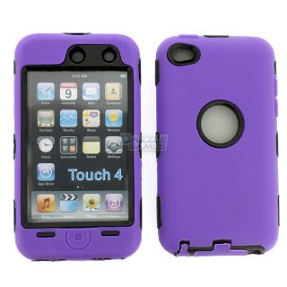 Deluxe Purple 3Piece Hard Case Cover Skin for iPod Touch 4 4G 4th Gen