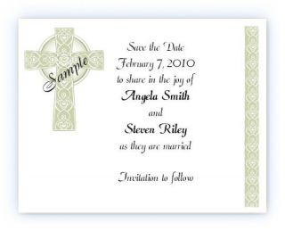 Custom Irish Celtic Cross Bridal Wedding Save The Date Cards