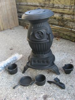 Old Mountain Cast Iron Mini Wood Pot Belly Stove Replica With Pots