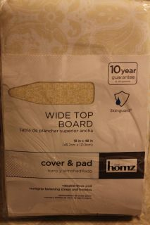 Homz Yellow Damask 48 x 18 Wide Top Ironing Board Cover Pad