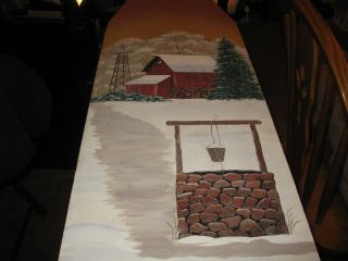 Vintage Wooden Ironing Board with Hand Painted Picture