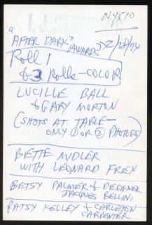 Lucille Ball Bette Midler 1974 After Dark Awards 28 ea 35mm Camera