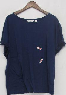 Isaac Mizrahi Live Sz 1x Short Sleeve Knit Top Midnight Blue New 2nd