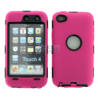 Hot Pink 3 Layer Hard Case Cover Skin for iPod Touch 4 4G 4th Gen