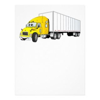 Semi Truck Yellow White Trailer Cartoon Customized Letterhead