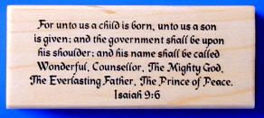 Isaiah 9 6 Christian Christmas Mounted Rubber Stamp 13 Bible Verse