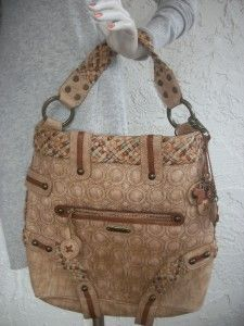 Isabella Fiore Extra Large Brown Leather Embellished Satchel Bag Tote