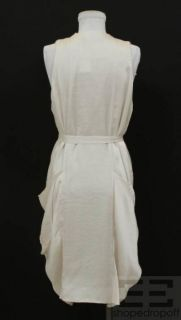 Isabel Marant Pearl White Ruffle Sleeveless Belted Dress