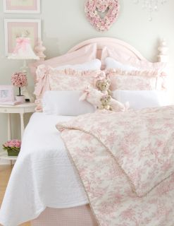 Isabella Glenna Jean 4 PC Full Child Girl Bedding Set Pink Toile