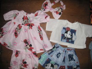 MICKEY MINNIE MOUSE DOLL CLOTHES FIT BITTY BABY TWINS HOMESEWN 5 PIECE