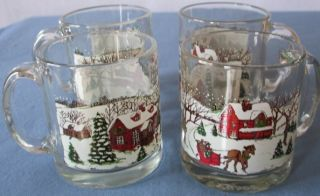 Libbey Christmas Winter Village Cider Mugs Coffee Cups or Glasses