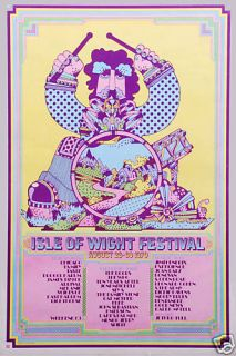 Classic Rock Jimi Hendrix at The Isle of Wight Concert Poster Circa