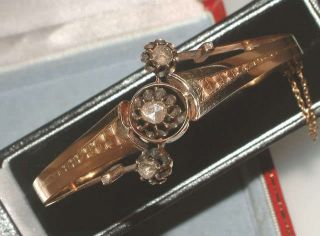 Antique Vintage 18 Carat Gold Diamond Bangle Bracelet Nickerla