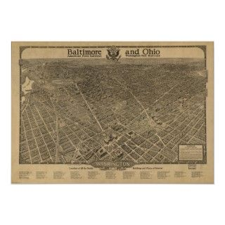 Washington DC 1923 Antique Panoramic Map Print