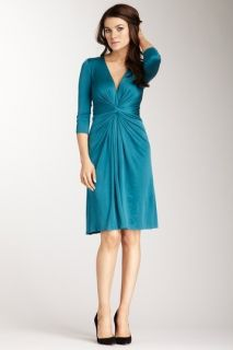 Issa London Twist Front Silk Jersey Dress Teal Blue Green Sz US 10 UK