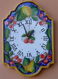 Deruta Italian Pottery Frutta Blue Wall Clock