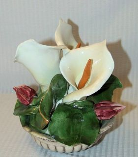 Calla Lily Flower in A Basket Figurine Italian Pottery
