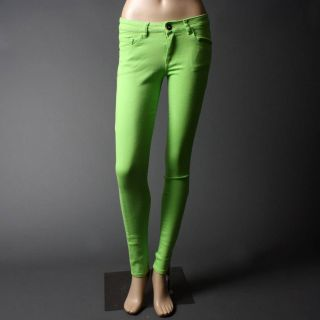 Lime Green Color Skinny Stretch Denim Pants Jeans Size 11