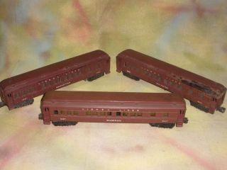 Lionel Postwar Irvington Passenger Cars Nos 2625 2627 2628