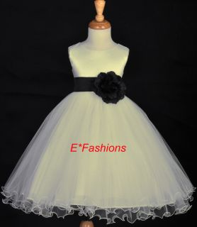 Ivory Wedding Black Flower Girl Dress 12 18M 2 4 6 8 10