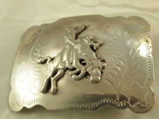 Antique Hand Tooled Silver Bull Rider Belt Buckle