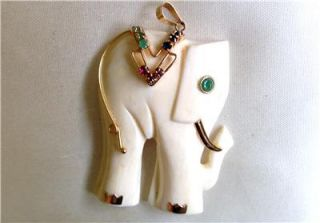 Lovely 14k Gold Faux Ivory Elephant Pendant with Semi Precious Stones