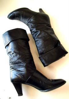 Vintage Tall Black Leather Mod Pirate Boots Heels 7 5