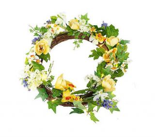 Easter Prelit Daffodil Crocus Wreath by Valerie Parr Hill
