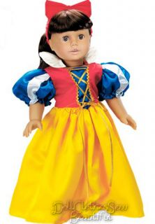 Doll Clothes Fits American Girl Snow White Halloween Costume