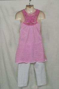 IZ Amy Byer Girls Pink Ruffle Tunic Leggings Sz 6X