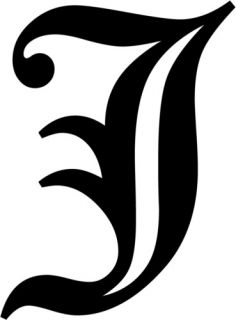 Letter J Old English Initial Decal Window Sticker