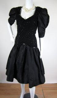 Vintage 1980s Black Sequin Keyhole Back Bow Punk Prom Party Dress s M