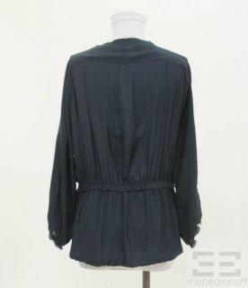 Isabel Marant Navy Raw Edge Peasant Blouse Size 1