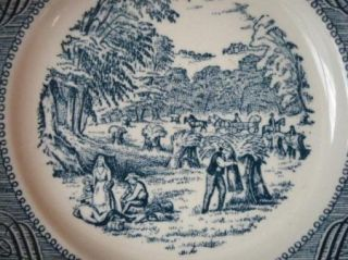 Currier Ives Blue Bread Plate Harvest Time