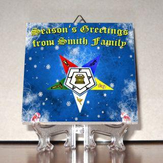 EASTERN STAR OES Christmas Greetings CUSTOMIZABLE Greeting Card Mod4