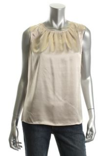Jones New York New Beige Satin Pleated Scoop Neck Sleeveless Dress Top