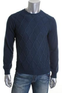 IZOD New Cotton Fancies Blue Solid Braided Crew Neck Cardigan Sweater