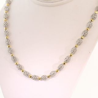 Round Oval Shaped 14k White Yellow Italian Gold Bead Necklace