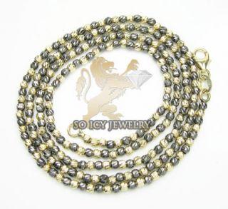 14k Black Gold Italian Bead Ball Chain Necklace Ladies