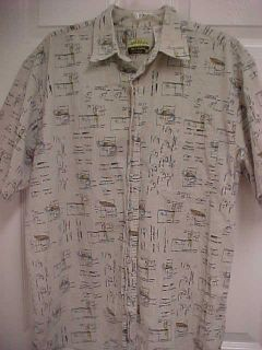 PANAMA JACK Isle of Palms Lures Quill Mens Fishing Cotton Shirt L Free