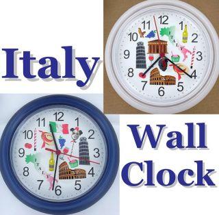 Italy Wall Clock Italian Rome Pisa Colloseum Venice New