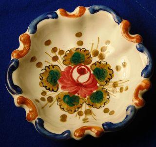 Hand Painted Deruta Italy Italian Pottery Rose Flower Petite Dish
