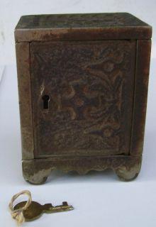 Antique Coin Bank J E Stevens Co Key Lock Safe No 50